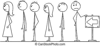 fila, esperando, linha, caricatura, pessoas