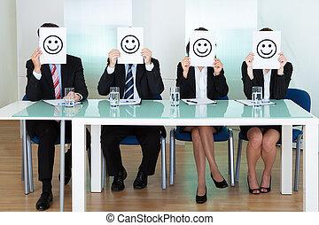 fila, executivos, smiley, negócio, caras