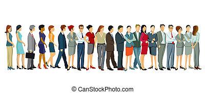 fila, gente, posición