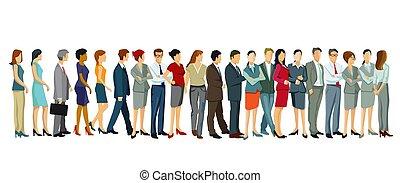 fila, -, gente, vector, illustration.eps, posición