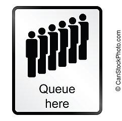 fila, informação, aqui, sinal