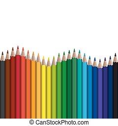 fila, lápices, interminable, coloreado, onda