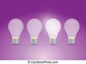 fila, lampadine, concetto, idea, luce