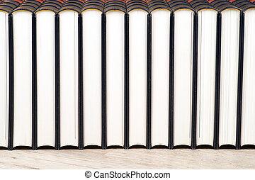 fila libros, en, un, estante