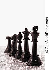 fila, nero, pezzi gioco scacchi