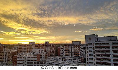 fila, ocaso, atrás, apartamentos, singapur