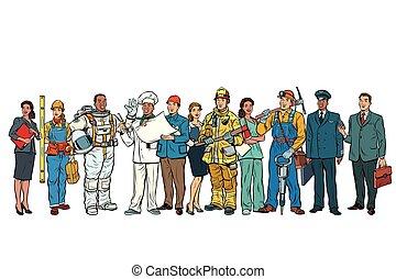 fila, persone, b, standing, bianco, set, differente, professioni