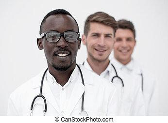 fila, posición, grupo, multi-racial, doctors