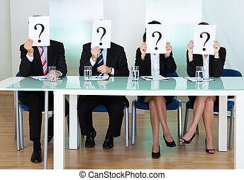 fila, pregunta, businesspeople, marcas