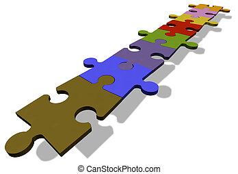 fila, rompecabezas, pedazos jigsaw