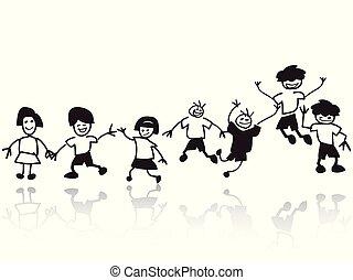 fila, scarabocchiare, bambini, felice