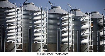 fila, silos grão