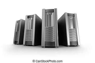 fila, sopra, bianco, rete, sistema servizio