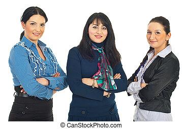 fila, tres, empresa / negocio, mujeres