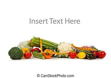 fila, vegetales, copia, espacio blanco