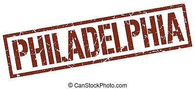 filadelfia, marrone, quadrato, francobollo