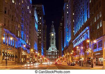 filadelfia, noche, ayuntamiento, pensilvania, estados unidos de américa