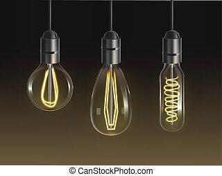 Filament bulbs set. Glowing retro edison lamps - Filament ...