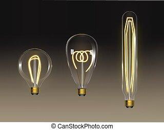 Filament bulbs set. Retro edison lamps isolated - Filament ...