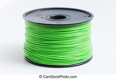 Filament for 3D Printer in light green against a bright ...