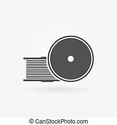 Filament for 3D Printer vector black icon or logo - 3D printing symbol