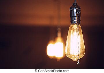 filament., luce, fila, lampade, tungsteno, edison's, bulb., ...
