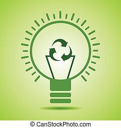 filamento, riciclare, fare, icona, verde