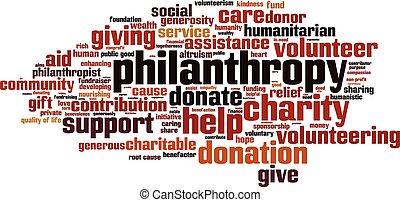 filantropía, palabra, nube