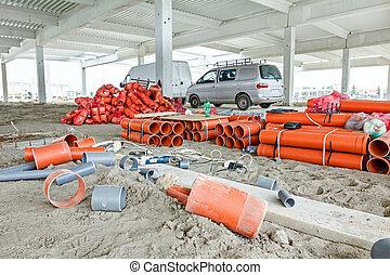 filas, arreglado, patrón, tubos, pvc, apilado, tubos