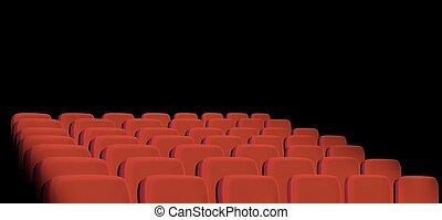 filas, cine, fondo., negro, vector., asientos, rojo