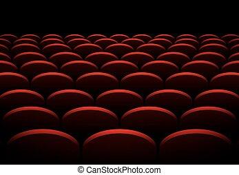 filas, de, cinema, ou, teatro, vermelho, assentos, vetorial, fundo