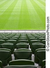filas, de, dobrado, verde, plástico, assentos, em, muito,...
