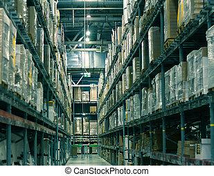 filas, de, estantes, con, cajas, en, moderno, gran escala, almacén