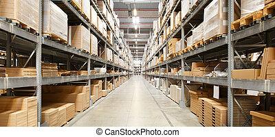 filas, de, estantes, con, cajas