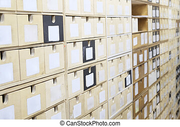 filas, de, estantes, en, un, almacén