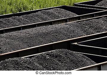filas, de, gôndola, trem carvão, carros