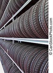 filas, de, pneus