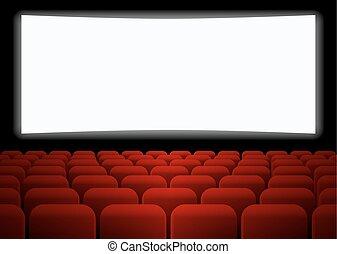 filas, de, vermelho, assentos