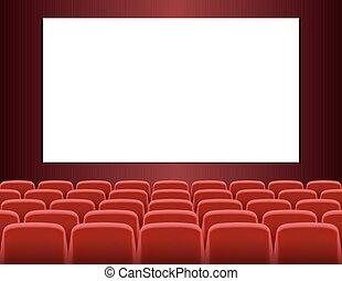 filas, de, vermelho, assentos, frente, branca