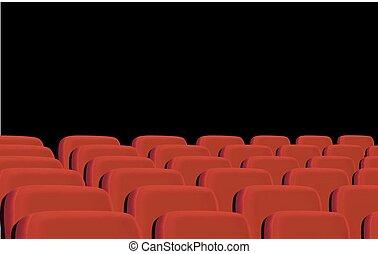 filas, de, vermelho, cinema, assentos, ligado, um, pretas, experiência., vector.