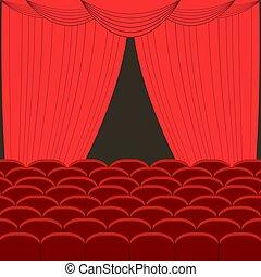 filas, de, vermelho, cinema