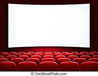 filas, de, vermelho, cinema, ou, assentos teatro, frente, branca, em branco, scre