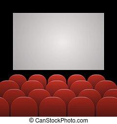 filas, de, vermelho, cinema, ou, assentos teatro, frente, branca, tela branco, com, amostra, texto, espaço, eps, 10