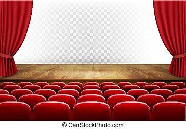 filas, de, vermelho, cinema, ou, assentos teatro, frente, transparente, experiência., vetorial