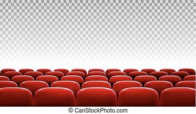 filas, de, vermelho, cinema, ou, assentos teatro, frente,...