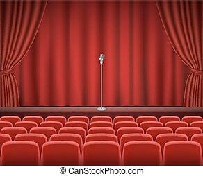filas, de, vermelho, cinema, ou, assentos teatro
