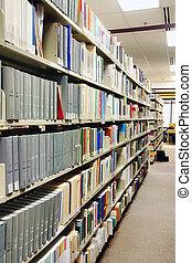 filas, livros, cinzento, biblioteca