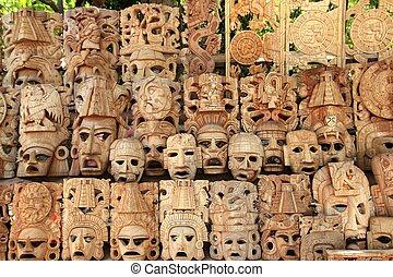 filas, méxico, mayan, máscara, handcraft, madeira, caras