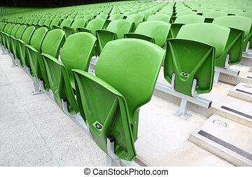 filas, muito, foco, plástico, dobrado, grande, assentos, frente, verde, vazio, stadium.