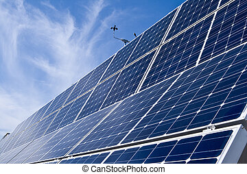 filas, photovoltaic, solar, painéis, distância, céu azul